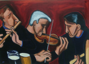 fiddle, tin whistle, and bodhran, painting by Pam O'Connell.